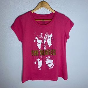 The Beatles Pink & Gold Foil Fitted Tee